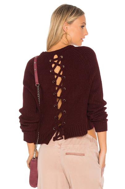 John & Jenn by Line sweater back lace burgundy