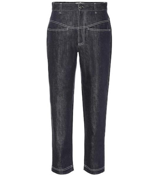 Fendi High-rise cropped jeans in blue
