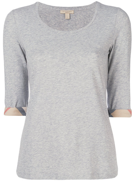 Burberry t-shirt shirt t-shirt women spandex cotton grey top
