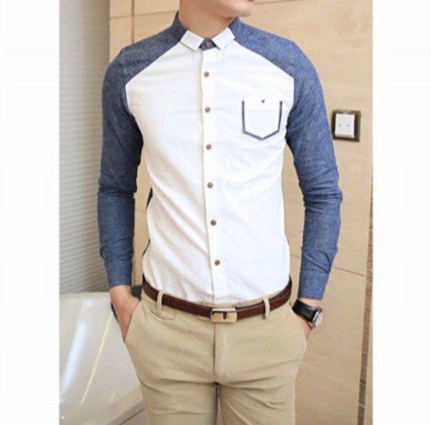 Image result for white and blue men shirt