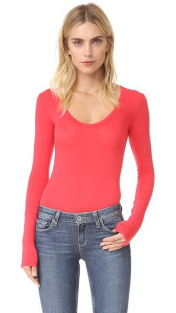 Free People Easy Peasy Tee Bodysuit - Red