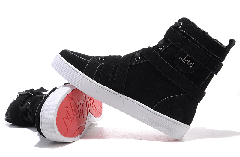 what are red bottom shoes for men - Christian Louboutin Spacer Flat High Top Men\u0026#39;s Sneakers Black [CL ...