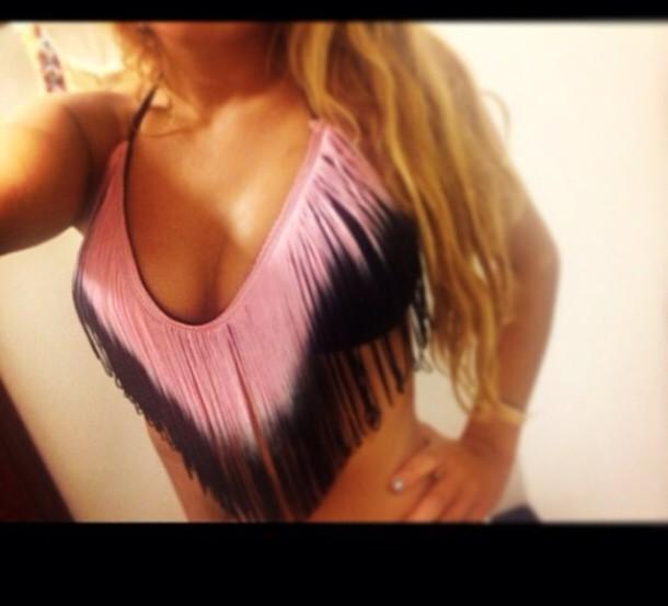 swimwear pink fringes ombre bikini