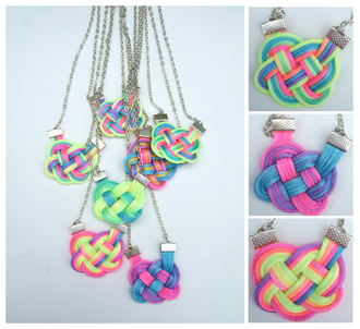 knot rainbow jewels summer outfits neon colorful dip dye ombre knot necklace necklace
