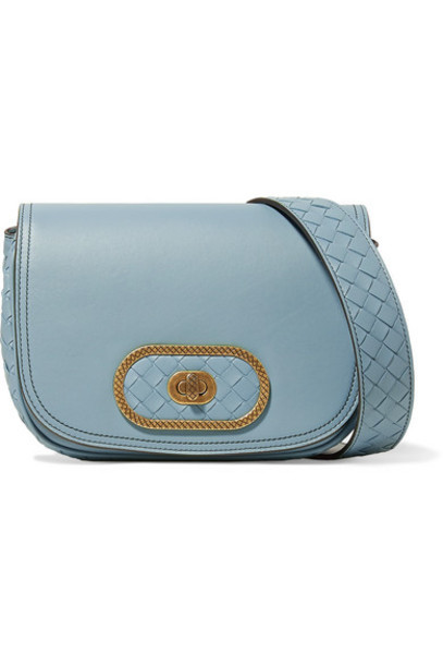 Bottega Veneta - Luna Small Intrecciato Leather Shoulder Bag - Light blue