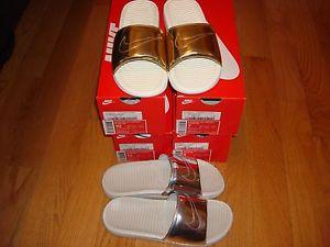 wholesale dealer 364e5 3f889 Nike Benassi solarsoft slide size mens sandal New flip liquid metal silver  gold