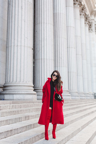 wendy's lookbook blogger coat sweater shoes sunglasses jewels red coat teddy bear coat winter coat winter outfits thigh high boots over the knee boots boots red boots
