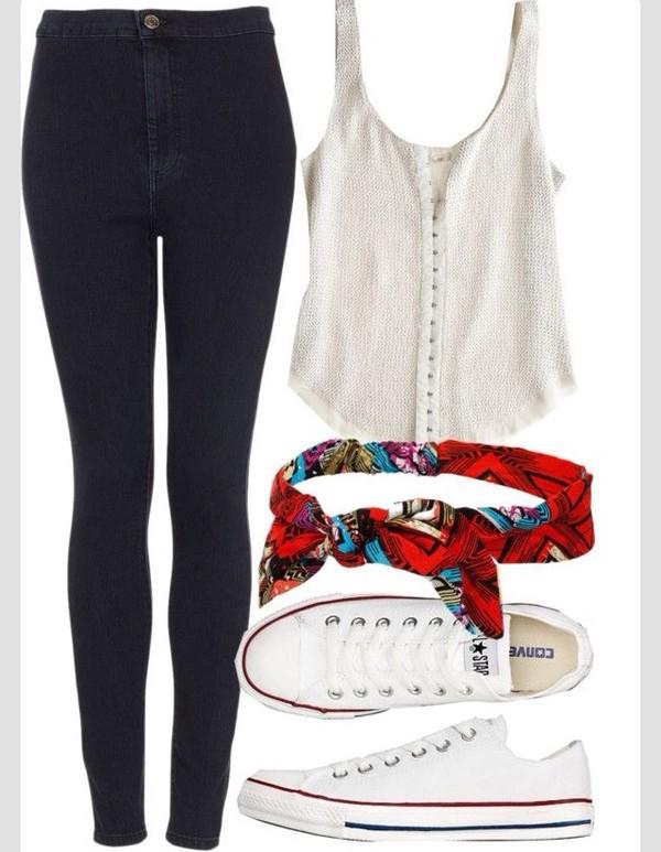 blouse bandana print jeans hat colorful summer outfits red handbag converse beach cream