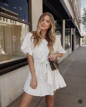 dress,white dress,bag