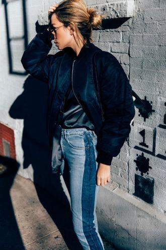 jacket tumblr black jacket bomber jacket black bomber jacket shirt black shirt silk silk shirt denim jeans blue jeans patchwork