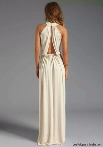 champagne dress formal homecoming nude beige maxi lovely elegant maxi dress prom prom dress white white dress evening dress open back open backed dress halter top halter dress