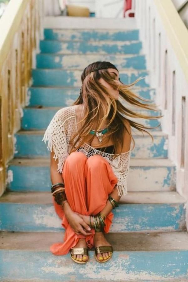 blouse lace skirt boho