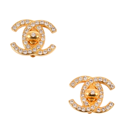Chanel gold rhinestone turnlock cc earrings