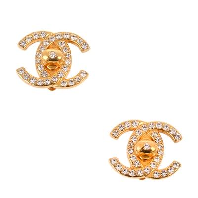 Chanel gold rhinestone turnlock cc earrings