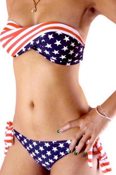 American Flag Print Strapless Bikini - OASAP.com