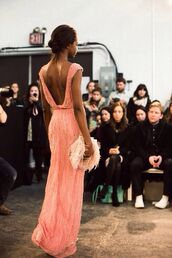 dress,prom dress,pink sparkles long backless strips,pink dress,maxi dress,glitter dress,glitter,long prom dress,orange dress,pink,maxi,open back,sequins,embellished dress,elegant,orange,v back,deep v back,deep back,prom,gown,salmon,salmon dresses,summer dress,jenny packham,peach dress,sparkly dress,low back dress