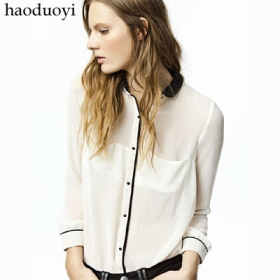 Buy Free Shipping detachable black collar contrast color chiffon shirt white shirt Size : XS - XXL  from madeinchina wholesaler on ShopMadeInChina