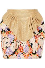 skirt,floral-print twill and raffia mini skirt,delpozo,floral,rffia,mini skirt