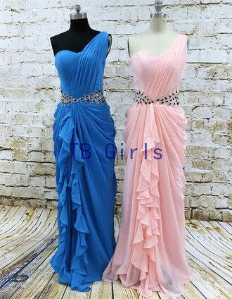 dress one shoulder prom dress one shoulder dresses blue prom dress fashion prom dress long prom dress evening dress bridesmaid homecoming dress formal party dresses