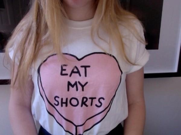 shirt white tee pink Eat my shorts white shirt t-shirt tight fitted tshirt heart t-shirt crop tops top