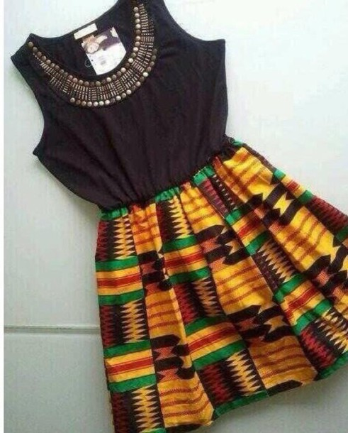 dress african print print multicolor