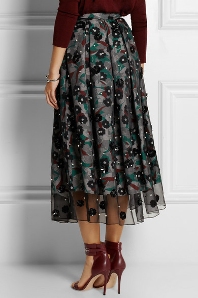 Organza and crepe de chine skirt