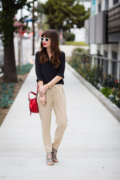 m loves m blogger pants sunglasses black shirt red bag office outfits top shoes make-up bag jewels nail polish