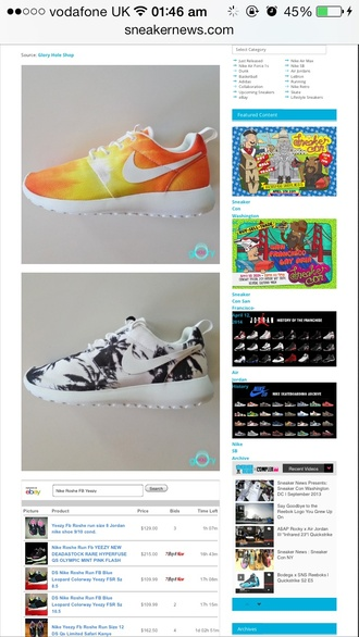 shoes nike roshe run palm tree print white sneakers nike