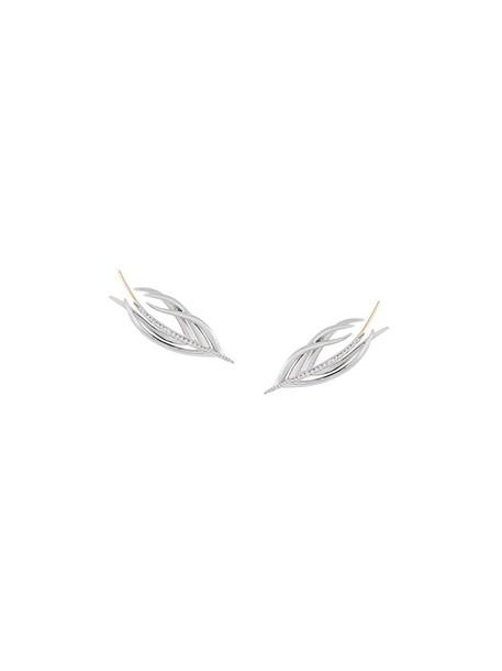 SHAUN LEANE women earrings silver white grey metallic jewels