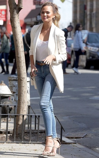 jeans denim chrissy teigen jacket blazer belt