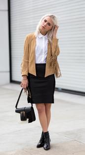 always judging,blogger,fringed jacket,white shirt,jacket,skirt,shoes,bag,blouse,boho jacket,suede jacket,camel jacket,shirt,black and white,black skirt,pencil skirt,black boots,ankle boots