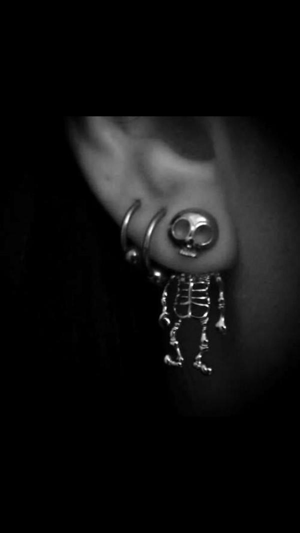 jewels earrings skull skeleton