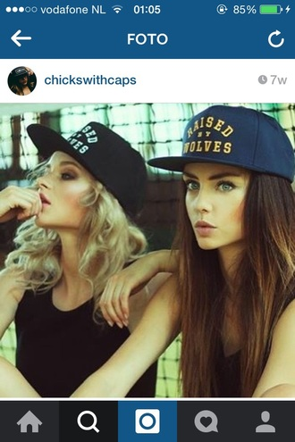 hat cap blue black raised by wolves