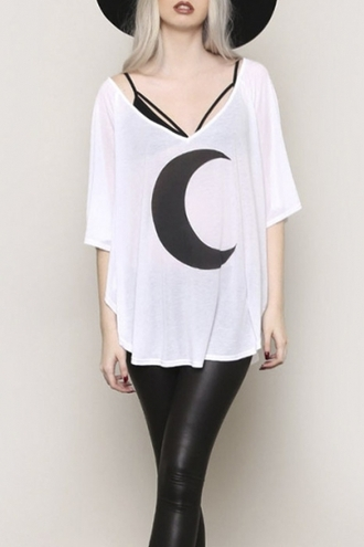 top beautiful halo white black black and white casual style trendy goth boho chic moon