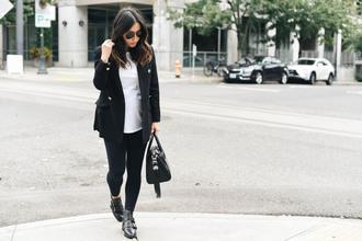 crystalin marie blogger jacket t-shirt leggings shoes bag handbag fall outfits black jacket