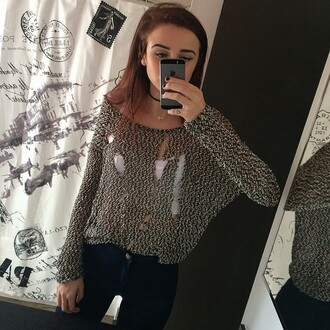 cardigan acacia brinley sweater ripped shirt shredded black white black and white
