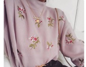 sweater,embroidered,pink,purple,flowers,high neck