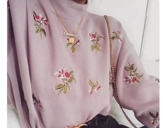 sweater embroidered pink purple flowers high neck