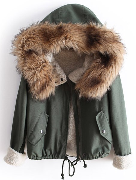 Green Fur Hooded Long Sleeve Drawstring Coat - Sheinside.com