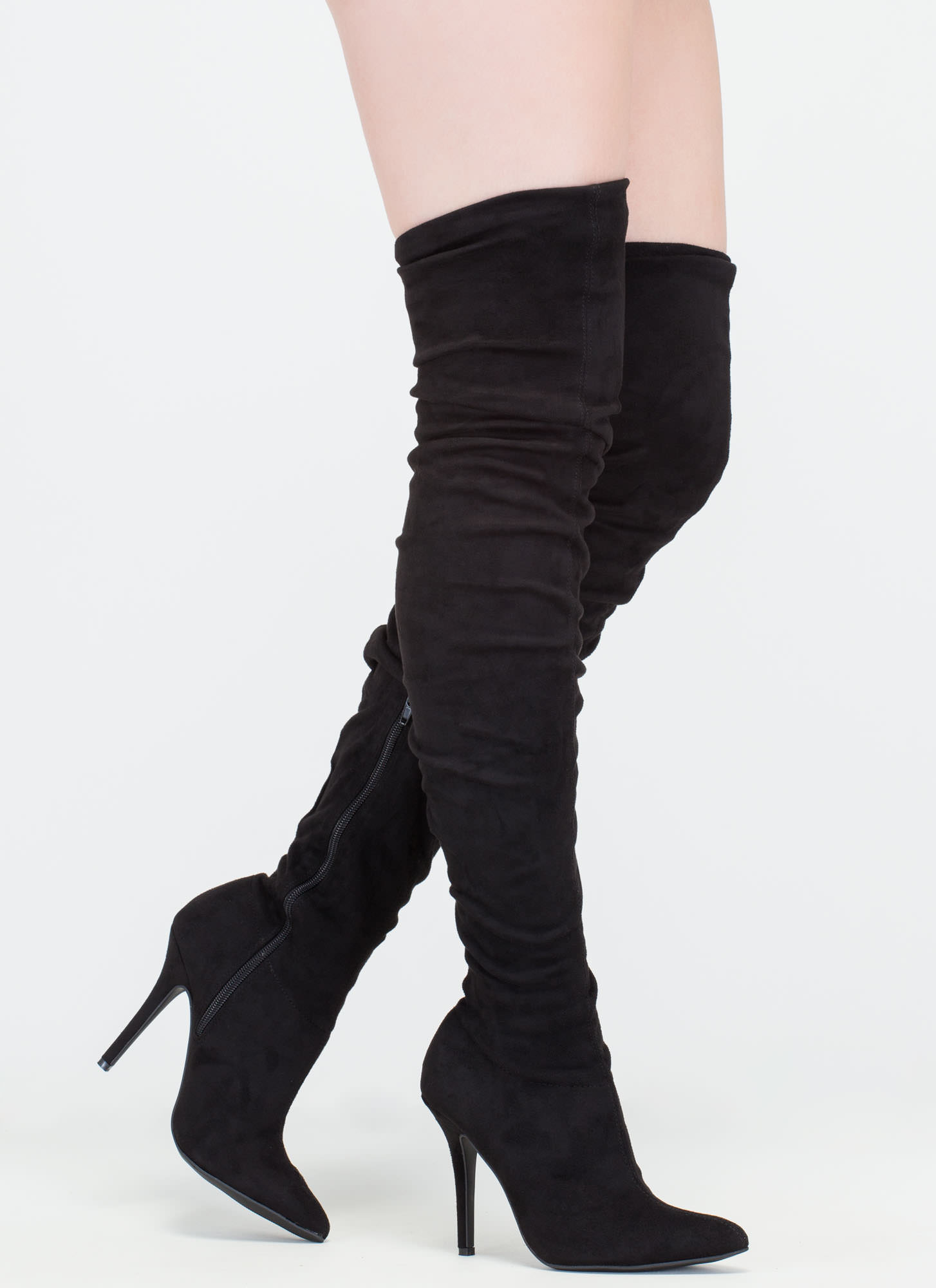 Stylish Slouch' Pointy Thigh High Slouch Boots, Stiletto