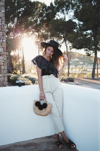top hat tumblr ruffle one shoulder pants high waisted pants white pants shoes slide shoes bag basket bag sun hat
