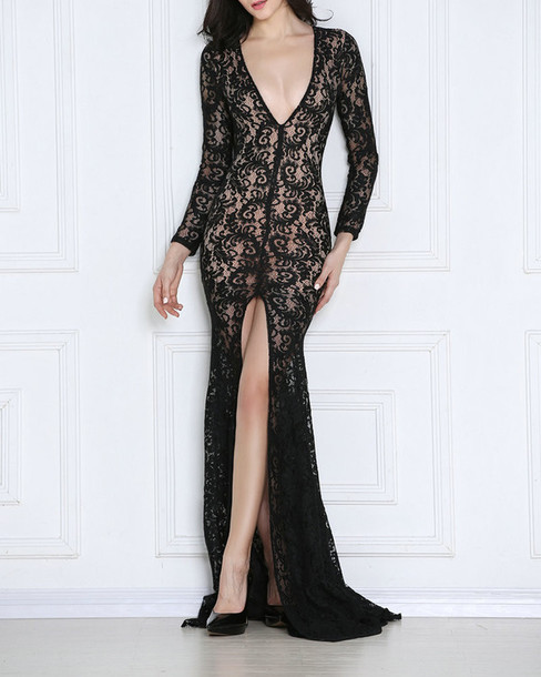8ccee6694b56 dress lace dress prom dress gown prom gown high-low dresses long sleeve  dress v