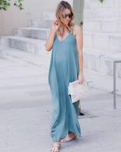 dress,tumblr,maxi dress,blue dress,long dress,slip dress,maternity dress,sandals,mid heel sandals,summer dress,bag,white bag,sunglasses,shoes