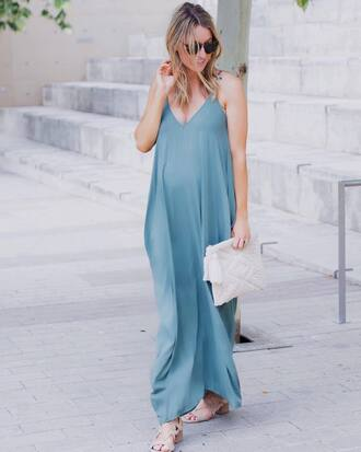 dress tumblr maxi dress blue dress long dress slip dress maternity dress sandals mid heel sandals summer dress bag white bag sunglasses shoes