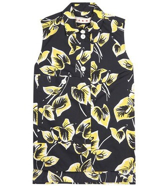 shirt printed shirt sleeveless floral black top