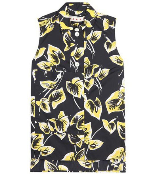 shirt printed shirt sleeveless floral black top