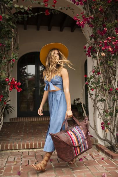 ee918b1f07f6 bag strapless dress midriff cut-out dress midi dress felt hat rocky barnes  blogger travel