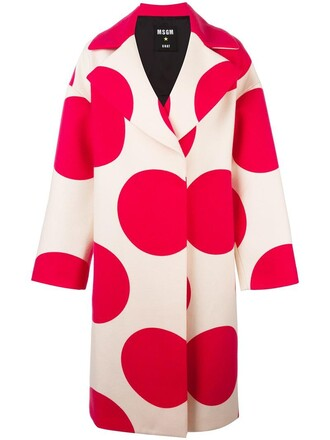 coat women polka dots nude print wool