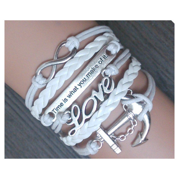 love-anchor-infinity bracelet Charm Bracelet white Wax Cords... - Polyvore