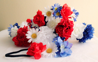 hair accessory flower crown flowers floral flower headpiece flower wreath red white and blue fourth of july july fourth 4th of july july 4th red white and blue accessories red white blue independence day